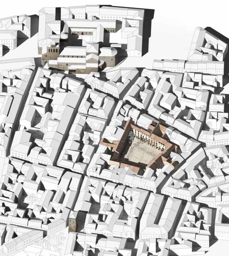Axonometría general donde se muestra la ubicación de la Plaza Mayor Jaca