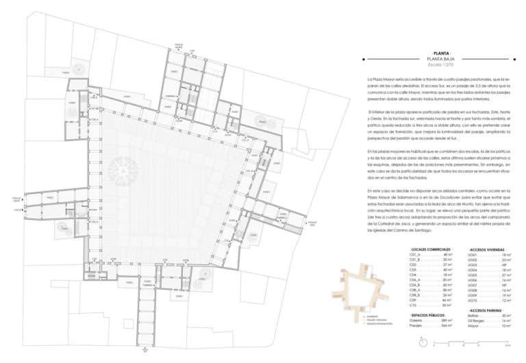 Planta baja donde se muestran los accesos mediante pasajes, nucleos de comunicación y comercios alrededor de los pórticos de la Plaza Mayor Jaca