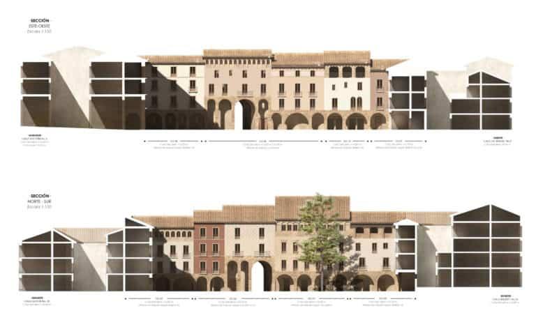 Alzados interior plaza fachadas norte y oeste de la Plaza Mayor Jaca