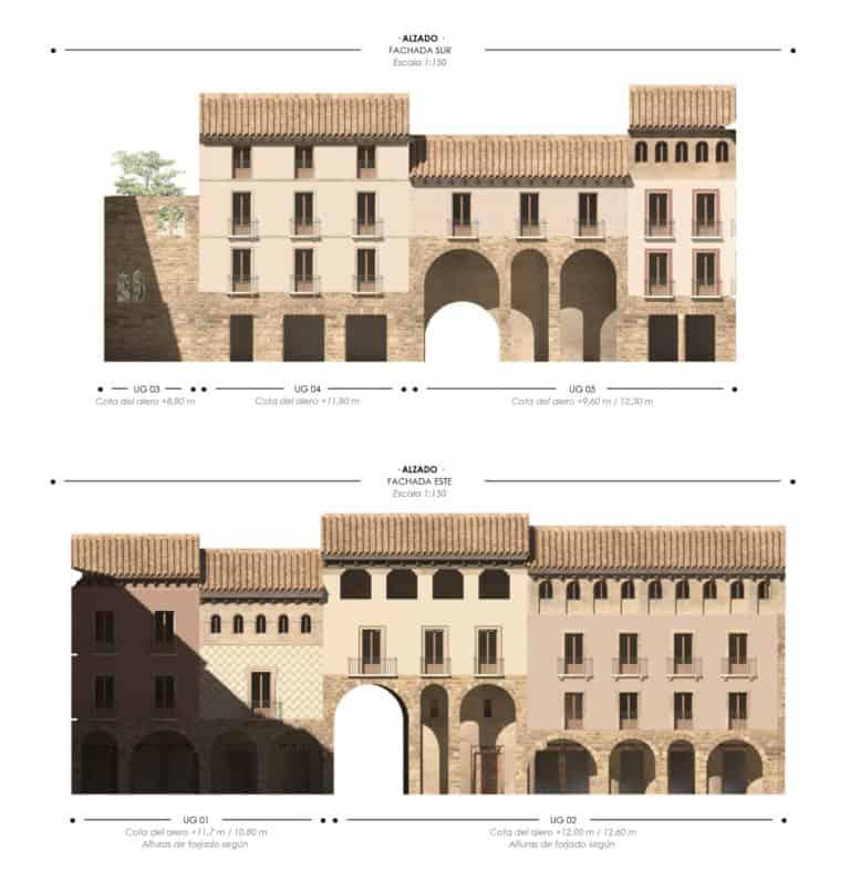 Alzados interiores fachadas sur y este de la Plaza Mayor de Jaca
