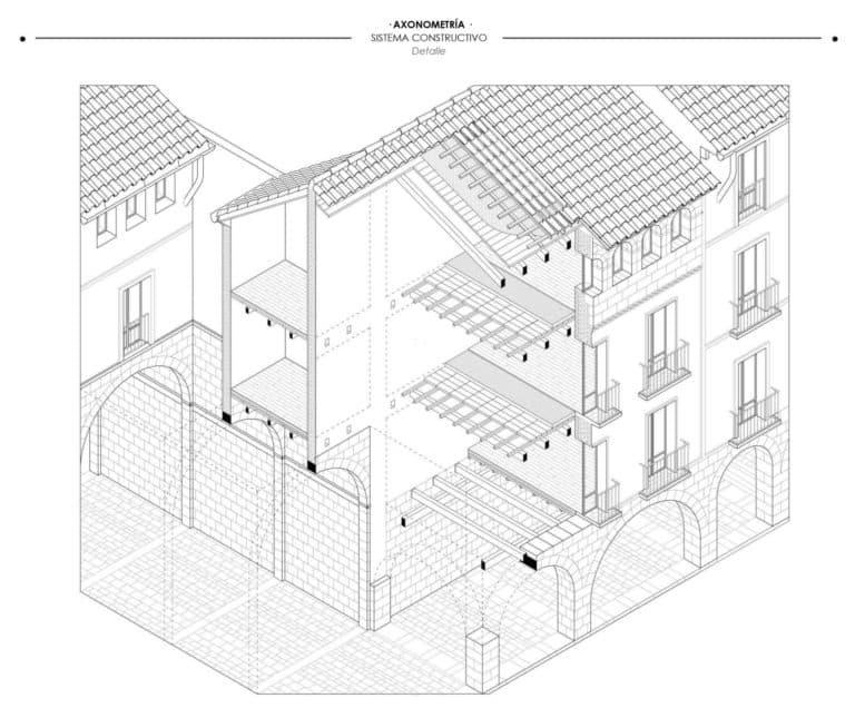 Axonometría constructiva de un fragmento de la Plaza Mayor Jaca