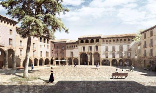 Vista interior de la Plaza Mayor Jaca