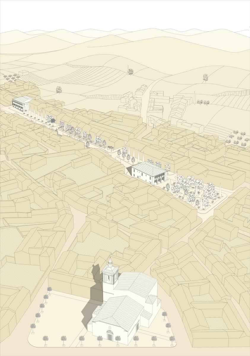 Vista aérea con la situación del proyecto dentro del municipio de Borox