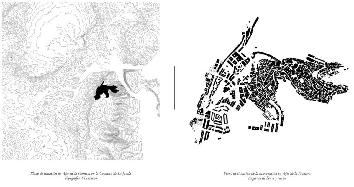 Planos de emplazamiento y situación del proyecto de Vejer para la ampliación urbana de su cornisa