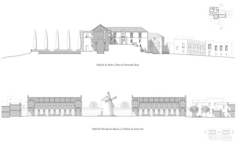 Secciones transversal (plaza) y longitudinal (mercado)