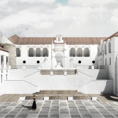 Vista general desde la plaza con la escalinata de acceso, fuente y el molino existente