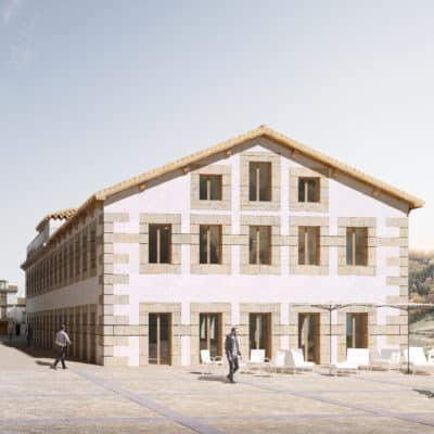 BÉJAR ANTE EL ESPEJO _ Vista exterior plaza y Escuela de Oficios