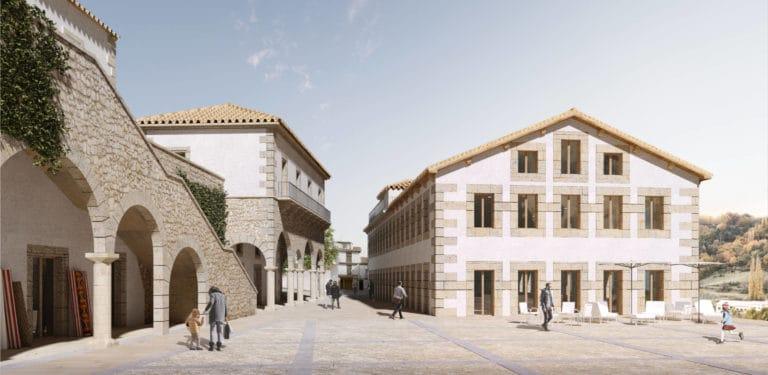 Vista exterior la plaza y la Escuela de Oficios