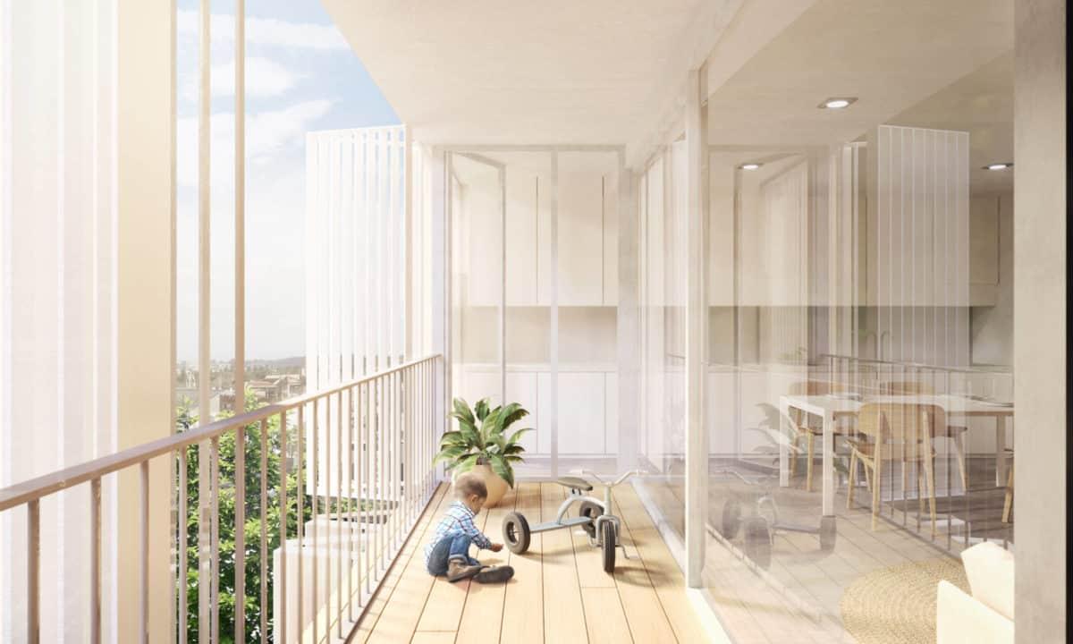 Viviendas sociales en Torreblanca_Vista interior terraza