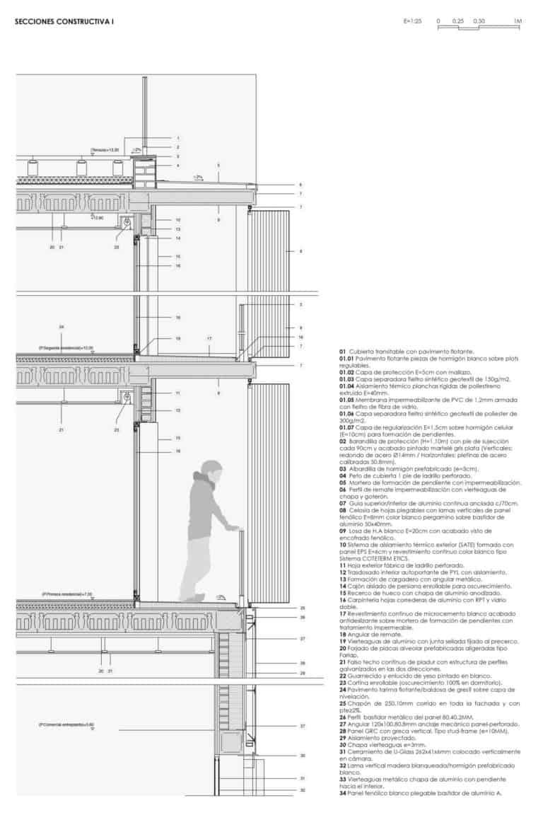 Viviendas sociales en Torreblanca_Sección Constructiva