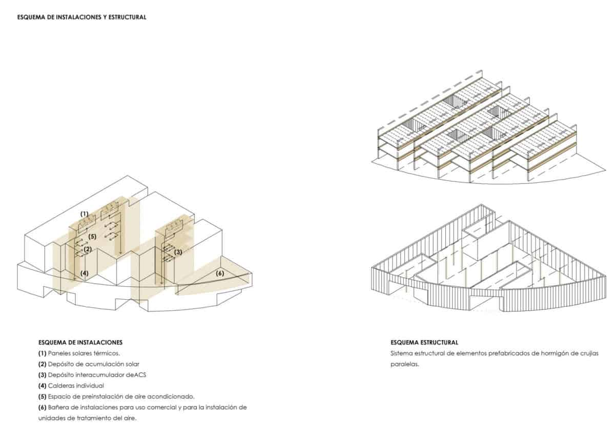 Viviendas sociales en Torreblanca_Esquemas Estructurales y de Instalaciones