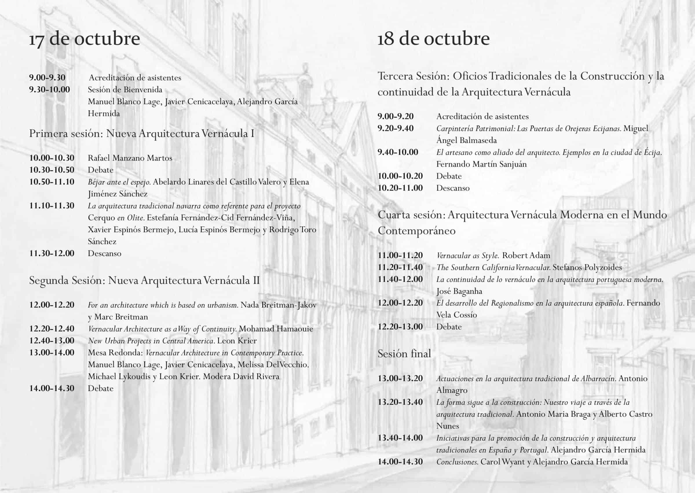 Programa Seminario Internacional Nueva Arquitectura Vernácula